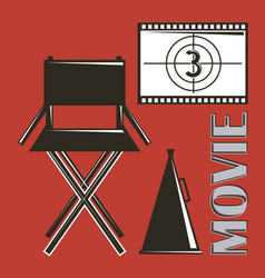 Movie director chair megaphone and film strip vector