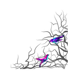 multi-colored birds sitting on tree branches vector image