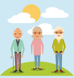 Older woman and men grandparents standing in vector