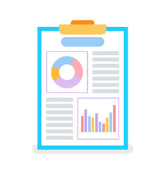 page with diagrams and graphs on flip chart vector image