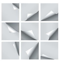 paper curl set turn curled empty pages vector image
