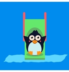 Penguin Riding a Roller Coaster vector