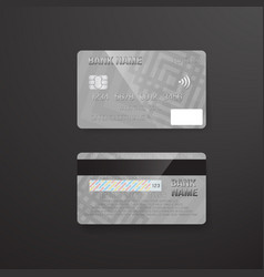 Photorealistic credit card on dark background vector