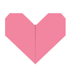 Pink origami paper heart icon handmade craft fold vector