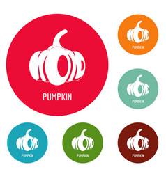pumpkin icons circle set vector image