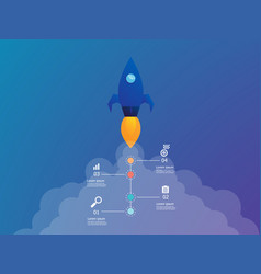Rocket launch with vertical infographics 4 steps vector