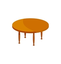 Round wooden table icon cartoon style vector