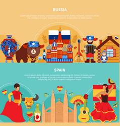 russia spain travel banners vector image