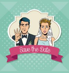 save the date pop art cartoon internet security vector image