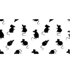seamless pattern with mice black silhouette vector image