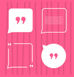 Set of citation on pink striped background vector