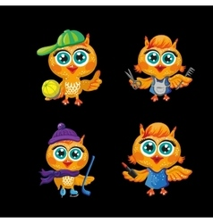Set of cute owls Cartoon characters vector