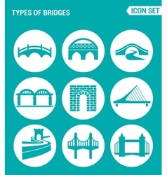 set of round icons white Types of bridges vector image
