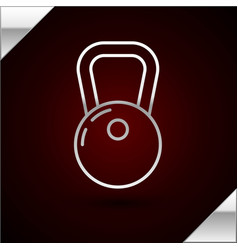Silver line kettlebell icon isolated on dark red vector