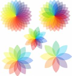 Spectrum abstract colored flowers vector