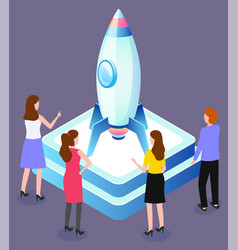 startup concept engineers launching spaceship vector image