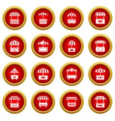 Street food kiosk icons set simple style vector