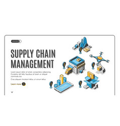 supply chain management isometric landing banner vector image