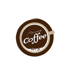 Top coffee cup logo design template vector