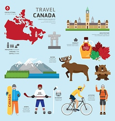 Travel Concept Canada Landmark Flat Icons Design vector image