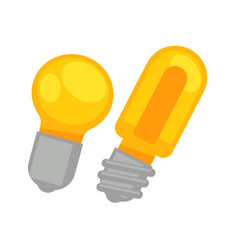 Two yellow round and long lamp bulbs isolated on vector