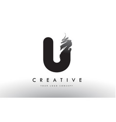 u brushed letter logo black brush letters design vector image