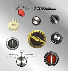 Vintage knobs set 2 vector