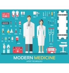 Visit to doctor medicine supplies equipment vector