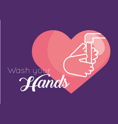 wash hands message for covid19 vector image