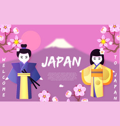 Welcome to japan japanese background with couple vector