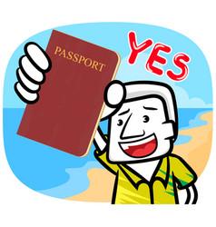 White man cartoon showing passport vector