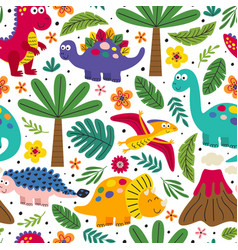 White seamless pattern with cute dinosaurs vector