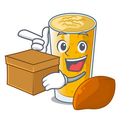 With box lassi mango in a cartoon bottle vector
