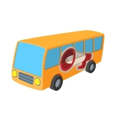 Yellow bus icon cartoon on white vector