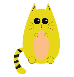 yellow cat on white background vector image