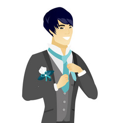 young asian cheerful groom adjusting tie vector image