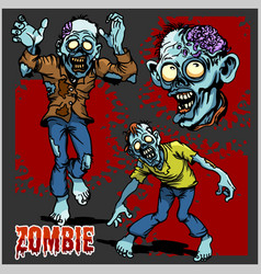Zombie comic set - cartoon zombie vector