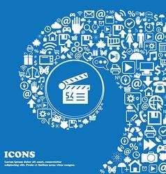 Cinema movie icon sign Nice set of beautiful icons vector image