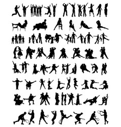 collection of people silhouettes vector image vector image