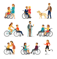 disabled and handicapped set vector image