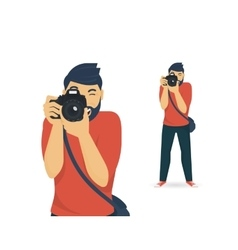 Happy photographer is taking a photo vector image