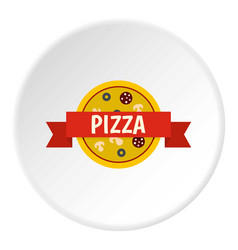 Pizza badge with red ribbon icon circle vector