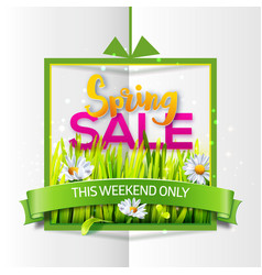 spring sale paper banner with green ribbon vector image vector image