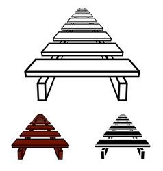 3D simple wooden footbridge black symbol vector image