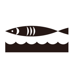 fish and waves icon vector image vector image
