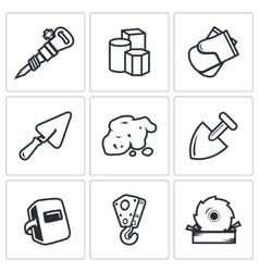 Hard work icons set vector