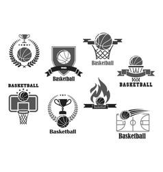 icons of basketball championship club award vector image