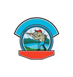 Sea Trout Hunter Shooting Circle Retro vector image vector image