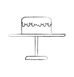 Sketch draw stand birthday cake cartoon vector