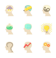 thoughts inside man head icons set cartoon style vector image